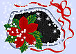 Winter Flower With Ribbon, Stars And Snow stock vector