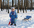 Winter Games Children - Girl With A Sledge In The Park stock image