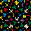 Winter Holidays Seamless Pattern With Colored Snowflakes, Abstract Art stock illustration