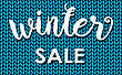 Winter Sale. Ink Painted Inscription On Blue Background From Knitted Wool. Vector Illustration