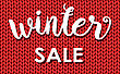 Winter Sale. Ink Painted Inscription On Red Background From Knitted Wool. Vector Illustration