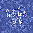 Winter Sale Typographic Poster. Hand Drawn Phrase. Lettering On Blue Snow Flake Background
