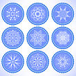 Winter Snow Blue Labels On Blue Background. Glossy Snowflake Circle Stickers For Christmas