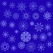 Winter Snow Flakes Isolated On Blue Background