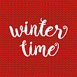 Winter Time Typographic Poster. Vector Hand Drawn Phrase. Vector Ink Painted Lettering On Red Wool Knitted Background. Banner With Phrase For Poster, Tshirt, Banner, Card And Other Design Projects stock illustration