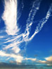 Fluffy Wispy Clouds stock photo
