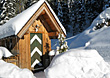 Woden Cabin Snowed In stock image