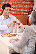 Grandmother Woman And Grandson At The Restaurant stock image