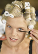 Hairstylists Woman Applying Mascara stock image