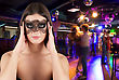 Woman At Mask Portrait At Masquerade stock photo