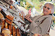 Woman Buying Bread From Market Stall stock photography