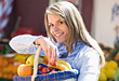 Woman Buying Fresh Fruits stock photo