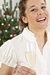 Woman Celebrating with Champagne stock image