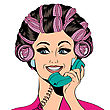 Woman With Curlers In Their Hair Talking At Phone, Isolated On White, Vector Format