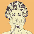 Woman With Curlers In Their Hair Talking At Phone, Vector Format