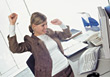 Woman Excited At Work stock photography