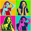 Woman Faces With Telephone.Popart Illustration Design Over Colourful Poster stock image
