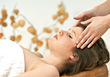 Woman Getting a Head Massage stock photography