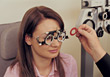 Woman Getting An Eye Exam stock photography