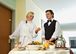 Woman Getting Room Service in Hotel stock photography