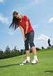 Woman Golfer Putting stock image