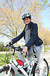 Woman Having Bike Ride stock image