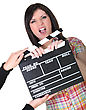 Woman Having A Hand Caught In A Movie Clap stock photo