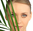 Woman Hiding Behind A Fern stock photo