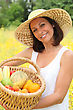 Woman Holding A Basket stock image