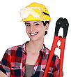 Woman Holding Bolt-cutters stock photography