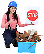 Arrow Woman Holding Stop Sign stock photo