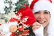 Woman In Festive Hat Holding Decorations stock image