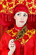 Woman In Russian Traditional Clothes Thinking