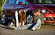 Woman And Man On A Road. Concept Car Accident stock image