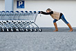 Woman Pushing Shopping Carts stock photography