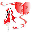 Woman In Red Dress Dancing Passionate Dance With Love