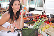 Woman Shopping At Local Market stock photo