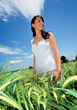 Smiling Woman Standing In A Field Of Wheat stock photo