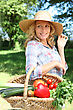 Gardener Woman With A Straw Hat And Basket Of Vegetables. stock image