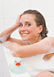 Woman Taking a Bath stock photo