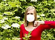 Flu Woman Being Unwell From Allergy To Flower Pollen stock image