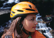 Woman Wearing Safety Helmet stock photo
