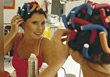Hairstylists Woman with Curlers stock photo