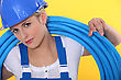 Woman With Roll Tube To The Shoulder stock photography