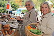 Women At The Market Together stock image