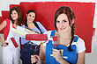 Women Painting A Room Red stock photo
