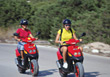 Women Riding Scooters stock image
