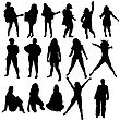 Women Silhouette Set For Design Use. Vector Illustration.