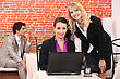 Business People & Computer Women Using A Laptop In A Restaurant stock photo