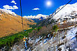Wonderful View Of The Cableway In The Mountains. Elbrus stock photography